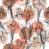 Seamless modern floral pattern with irises, spots, blots and splashes of paint vector illustration