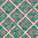 Seamless modern geometric texture squares with exotic tropical jungle green palm leaves on the pink background. Black on white sha. Pes. rombs, square. textile vector illustration