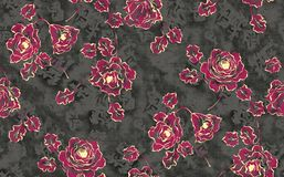 Seamless modern rose flower with grey texture background stock illustration