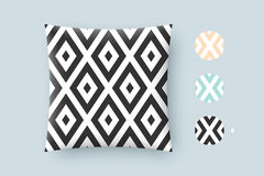 Seamless modern stylish texture and graphic pattern. Black repeating absract geometric tiles with dotted rhombus on a. White background. For print on pillow in stock illustration
