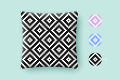 Seamless modern stylish texture and graphic pattern. Black repeating absract geometric tiles with dotted rhombus. On a white background. For print on pillow in stock illustration