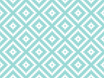 Seamless modern stylish texture and pattern. White repeating geometric tiles with dotted rhombus on a turquorise background. Vecto Stock Image