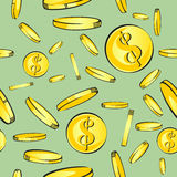 Seamless money pattern, gold coins with dollar sign fall, vector illustration.  Stock Images