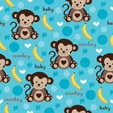Seamless monkey and banana pattern vector. Seamless adorable baby monkey and banana pattern vector Stock Images