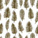 Seamless monochromatic feather background. Stock Photos
