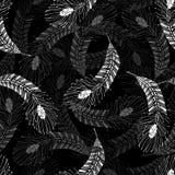 Seamless monochrome abstract decor pattern. Endless abstract decor pattern with feather Stock Images
