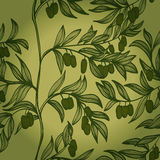 Seamless monochrome background with branches and green olives Royalty Free Stock Photos