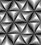 Seamless Monochrome Curved Triangle Pattern Gently Shimmering from  light to dark. Visual Volume Effect. Polygonal Geometric Abstract Background. Suitable for Royalty Free Stock Photos