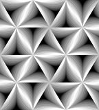 Seamless Monochrome Curved Triangle Pattern Gently Shimmering from  light to dark. Visual Volume Effect. Polygonal Geometric Abstract Background. Suitable for Stock Photos