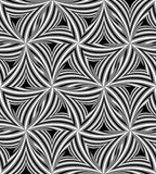 Seamless Monochrome Curved Triangle Pattern. Visual Volume Effect.  Polygonal Geometric Abstract Background Royalty Free Stock Image