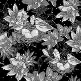 Seamless monochrome floral background with bird Stock Photography