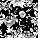 Seamless monochrome floral background with roses Royalty Free Stock Image