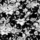 Seamless monochrome floral background with roses Royalty Free Stock Photos