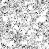 Seamless monochrome floral background with roses Royalty Free Stock Photography