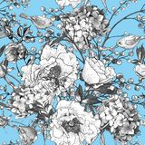 Seamless monochrome floral pattern with Birds Stock Photo