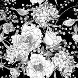 Seamless monochrome floral pattern with Birds Royalty Free Stock Photography