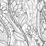 Seamless Monochrome Floral Pattern Royalty Free Stock Images