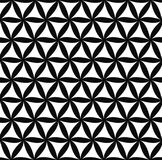 Seamless monochrome floral pattern. Repeat black and white hexagonal abstract floral pattern design Royalty Free Stock Images