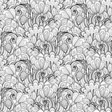Seamless Monochrome Floral Pattern (Vector) Stock Photography