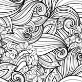 Seamless Monochrome Floral Pattern (Vector) Royalty Free Stock Images