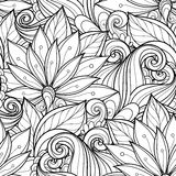Seamless Monochrome Floral Pattern Royalty Free Stock Image