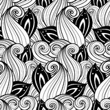 Seamless Monochrome Floral Pattern (Vector) Stock Image