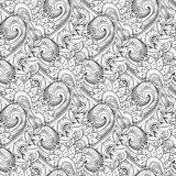 Seamless Monochrome Floral Pattern (Vector) Stock Photo