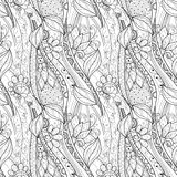 Seamless Monochrome Floral Pattern (Vector) Stock Photos
