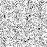 Seamless Monochrome Floral Pattern (Vector) Royalty Free Stock Photography