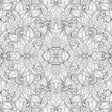 Seamless Monochrome Floral Pattern (Vector) Stock Images