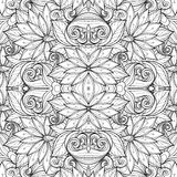 Seamless Monochrome Floral Pattern (Vector) Royalty Free Stock Photo