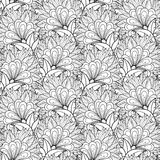 Seamless Monochrome Floral Pattern (Vector) Royalty Free Stock Photos