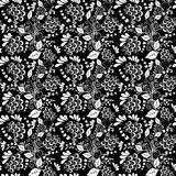 Seamless monochrome floral pattern Stock Photos