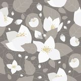 Seamless monochrome flower pattern. On gray background Stock Photo