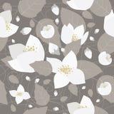 Seamless monochrome flower pattern Stock Photo