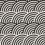 Seamless monochrome geometric pattern. Abstract geometric background. Stylish vector rounded lines print. Seamless monochrome geometric pattern. Abstract stripy Stock Image