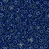 Seamless monochrome geometric  pattern with paisley and flowers. Vector print . Stock Photography