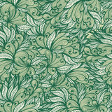 Seamless monochrome hand drawn floral pattern Stock Photo