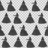 Seamless monochrome lace pattern. Black silhouette of a bride on openwork grid. Stock Photos