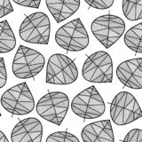 Seamless monochrome leaves vector background. Subtle abstract nature foliage pattern. Vector repeating texture stylized autumn. Leaf black and white. For stock illustration