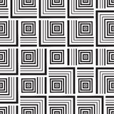 Seamless monochrome  ornament squares. Seamless monochrome pattern, squares of black-and-white- illustration Stock Photo
