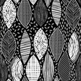 Seamless monochrome pattern with  abstract leaves on a black bac Stock Image