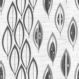 Seamless monochrome pattern with  abstract leaves. Royalty Free Stock Image
