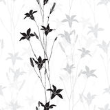 Seamless monochrome  pattern with  bellflowers. Stock Image