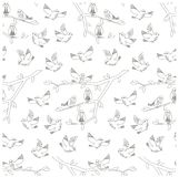 Seamless monochrome pattern with birds, branch, leaves Stock Photography