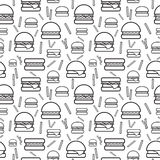Seamless monochrome pattern burgers and fries. Seamless monochrome pattern of burgers and fries on white background. Vector illustration Royalty Free Stock Image