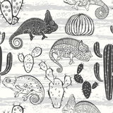 Seamless monochrome pattern with cactus and chameleons. Vector c Stock Photography
