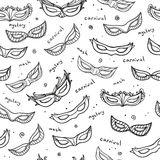 Seamless monochrome pattern with carnival masks Stock Images