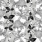 Seamless monochrome pattern with clover Royalty Free Stock Photos