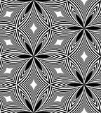 Seamless Monochrome  Pattern Of Curved Diamonds. Geometric Abstract Background. Suitable for textile, fabric, packaging and web Royalty Free Stock Images